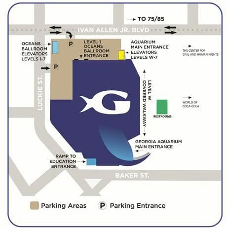Georgia Aquarium is located at 225 Baker St. NW. Atlanta, GA 30313